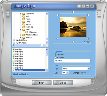 ImageSign is able to digitally sign any jpg-file in your photo archive
