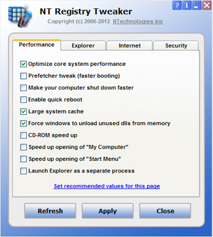 Click to view NT Registry Tweaker 1.0 screenshot