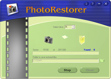 PhotoRestorer allows recovering deleted jpg-files from any type of flash drives